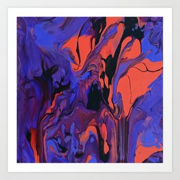 Blue, Teal and Orange Fantasy Art Print