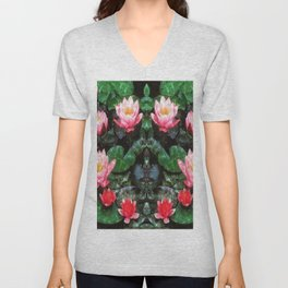 Mirrored Water Lilies Unisex V-Neck