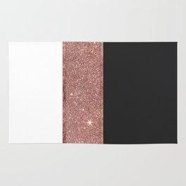 Modern Rose Gold Glitter Black White Color Blocks Rug