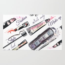 Fashion pattern with cosmetic in watercolor style Rug