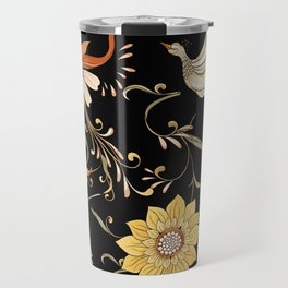 Vintage flowers and birds hand drawn illustration pattern. In art nouveau style. Old retro style on dark background. Travel Mug