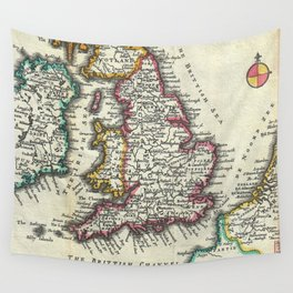 Vintage Map of England (1747) Wall Tapestry