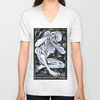 anxiety V-neck T-shirts featuring 'Anxiety' by Jerry Kirk