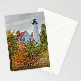MICHIGAN LIGHTHOUSE AUTUMN UPPER PENINSULA FALL LANDSCAPE Stationery Cards