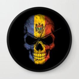 Dark Skull with Flag of Moldova Wall Clock