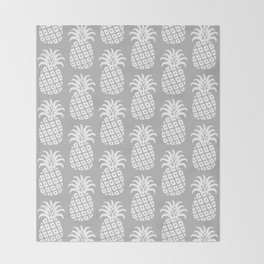 Mid Century Modern Pineapple Pattern Grey Throw Blanket