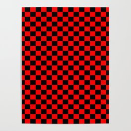 Red Black Checker Boxes Design Poster