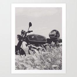 Scrambler photography, motorcycle lovers, motorbike, café racer, cafe racer, man cave gift Art Print