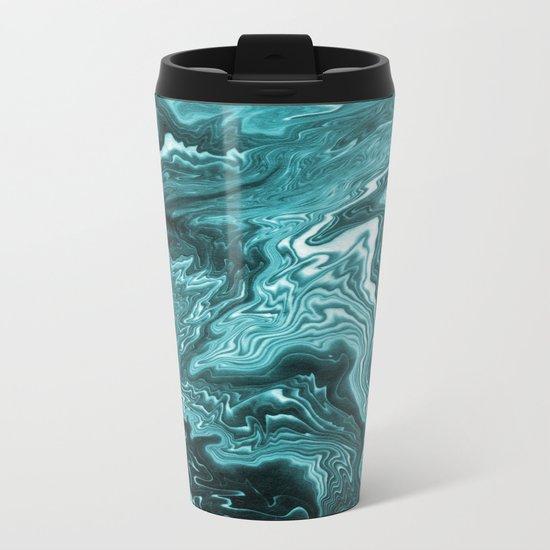 Yumiko - spilled ink painting abstract minimal ocean wave water sea monochromatic trendy hipster art Metal Travel Mug