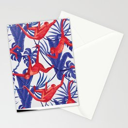 red monkey blue leaves pattern Stationery Cards
