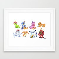 digimon Framed Art Prints featuring Digimon Group by Catus