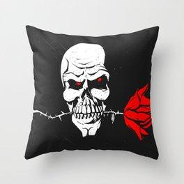 Skull with flower between teeth - halloween skull - skeleton cartoon - gothic illustration Throw Pillow