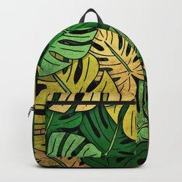 Grunge Monstera Leaves Backpack
