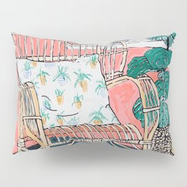 Cane Chair in Pink Interior Pillow Sham