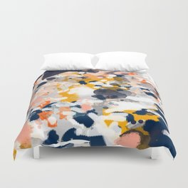 Stella - Abstract painting in modern fresh colors navy, orange, pink, cream, white, and gold Duvet Cover