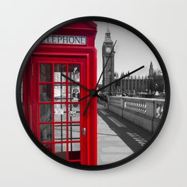 Big Ben and Red telephone box Wall Clock