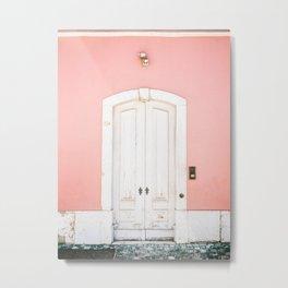 The Lisbon door | Pink on white fine art travel photography print | Portugal Europe Metal Print