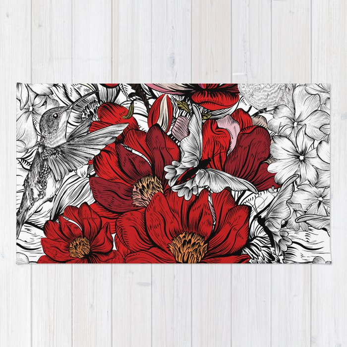 Boho Chic Red Poppy Flowers Black And White Background Rug By