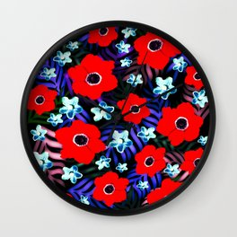Poppies & Columbines Wall Clock