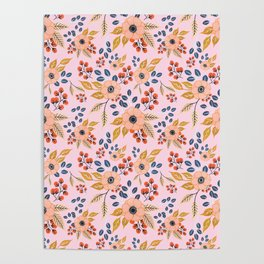 Blush Poppy Floral Pattern Poster