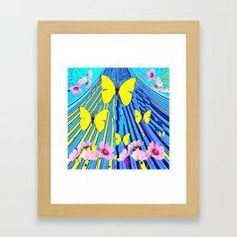 MODERN ART YELLOW BUTTERFLIES PINK FLOWERS BLUE PATTERN Framed Art Print