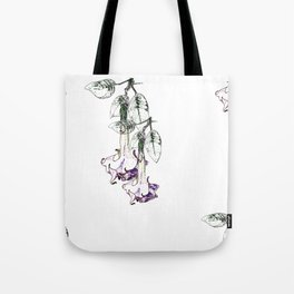 Illustrated Moonflower in Purple and Green Tote Bag