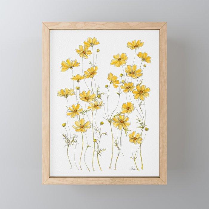 Yellow Cosmos Flowers Framed Mini Art Print