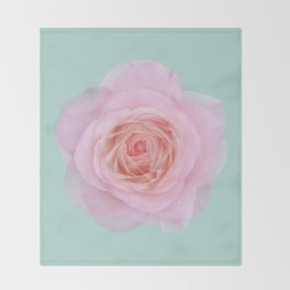 rose by another name: pink ghost on eau de nil Throw Blanket