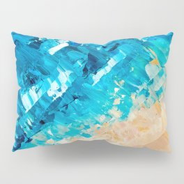 Deep | Abstract blue turquoise ocean beach acrylic brushstrokes painting Pillow Sham