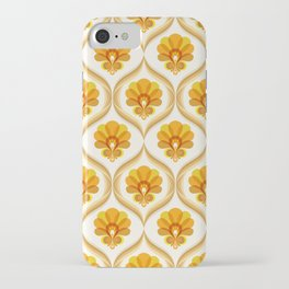 Ivory, Orange, Yellow and Brown Floral Retro Vintage Pattern iPhone Case