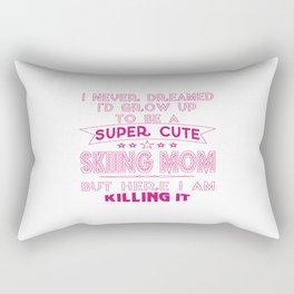 SUPER CUTE A SKIING MOM Rectangular Pillow