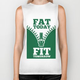 Lab No. 4 - Fat Today Fit Tomorrow Gym Motivational Quote Poster Biker Tank