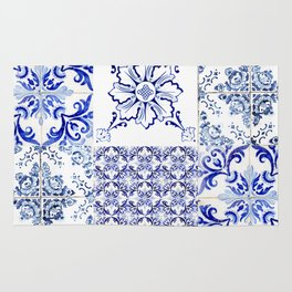 Azulejo VIII - Portuguese hand painted tiles Rug