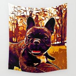 french bulldog basketball vector art late sunset Wall Tapestry