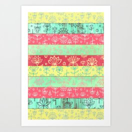 Lily & Lotus Layers in Mint Green, Coral & Buttercup Yellow Art Print