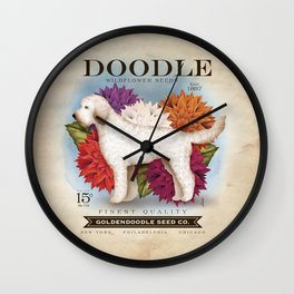 Doodle Goldendoodle wildflower seed packet artwork by Stephen Fowler Wall Clock
