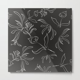 Hand Drawn Floral Metal Print