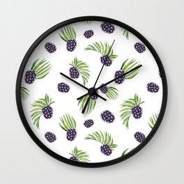 Hand painted black green watercolor fruity blackberries Wall Clock