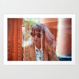 Girl in Kyoto, Japan - Fushimi Inari Shrine Double Exposure - 35mm Film Photograph Art Print