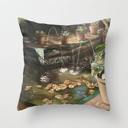 Andalusian garden of the house of the painter Sorolla in Madrid Throw Pillow