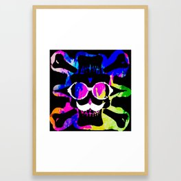 old vintage funny skull art portrait with painting abstract background in pink blue yellow green Framed Art Print