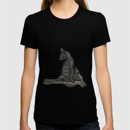 Body Positive Sphynx Cat - Black Wrinkly Nude Kitty - Funny Hairless Animal Portrait T-shirt