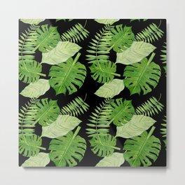 Tropical Leaves on Black Background Metal Print