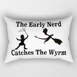 The Early Nerd Catches The Wyrm Silhouette Rectangular Pillow