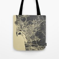 san diego Tote Bags featuring San Diego Map by Map Map Maps