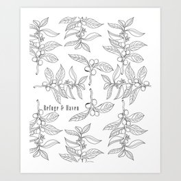 Refuge and Haven - Coffee Plant Pattern Art Print