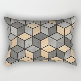 Concrete and Wood Cubes Rectangular Pillow