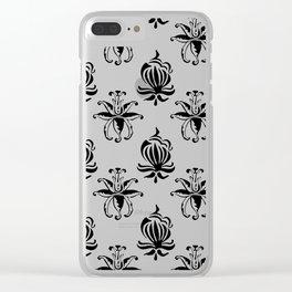 Vintage black white elegant floral damask Clear iPhone Case