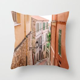French orange & yellow town - Old house alley in Menton, France, South Europe | Travel photography Throw Pillow