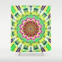 lime green Shower Curtains featuring Lime Green Citrus Abstract by Phil Perkins
